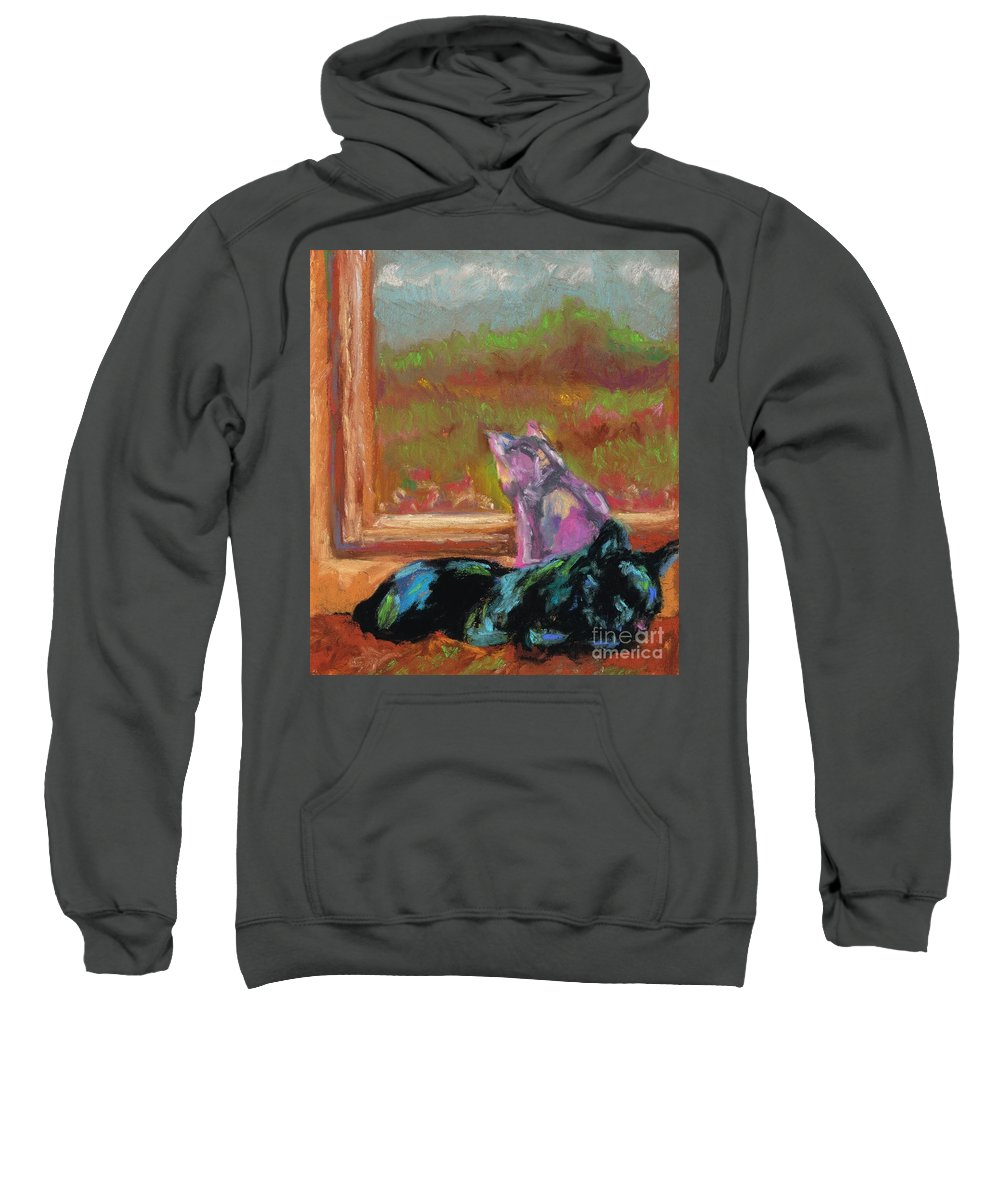 Cats Sweatshirt featuring the painting Room With A View by Frances Marino