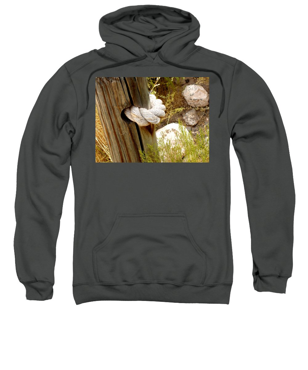Rope Sweatshirt featuring the photograph Rope In A Post by Wayne Potrafka