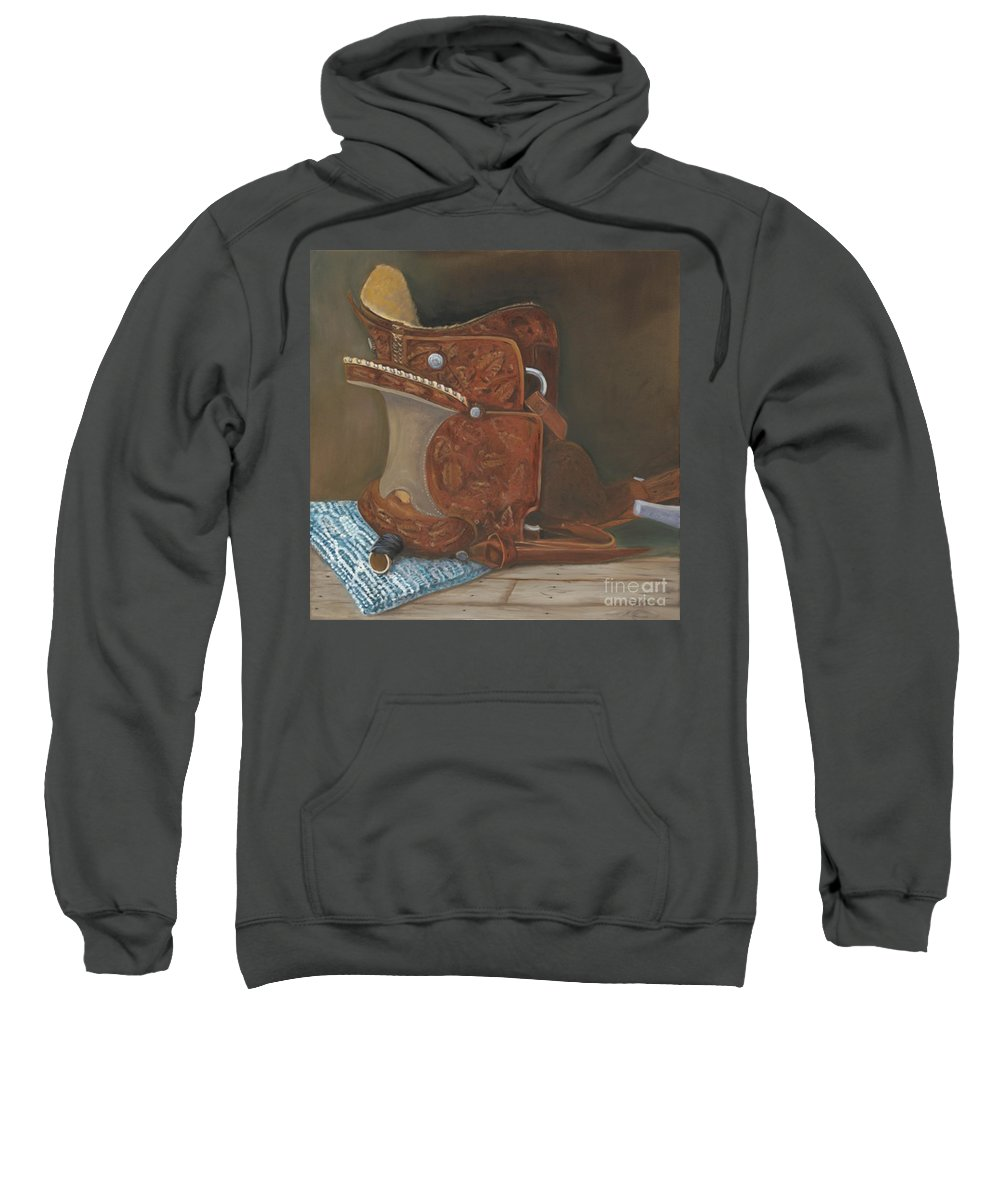 Saddle Sweatshirt featuring the painting Roping Saddle by Mendy Pedersen