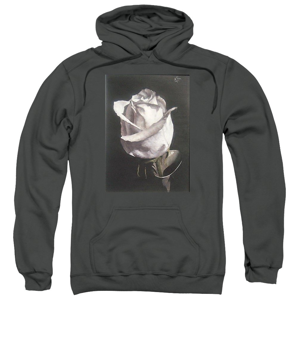 Rose Floral Nature White Flower Sweatshirt featuring the painting Rose 2 by Natalia Tejera