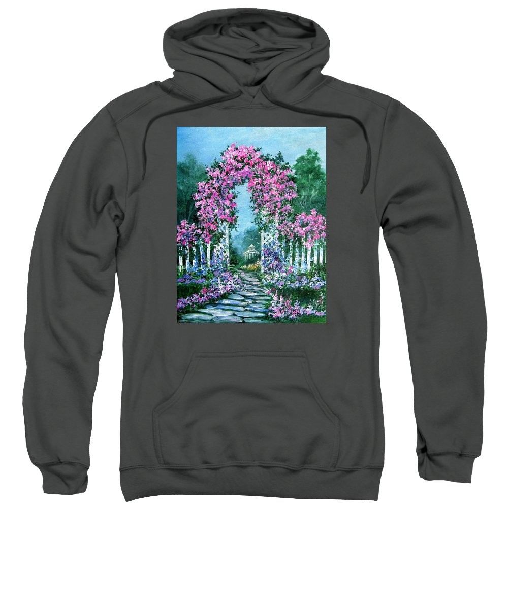 Roses;floral;garden;picket Fence;arch;trellis;garden Walk;flower Garden; Sweatshirt featuring the painting Rose-covered Trellis by Lois Mountz