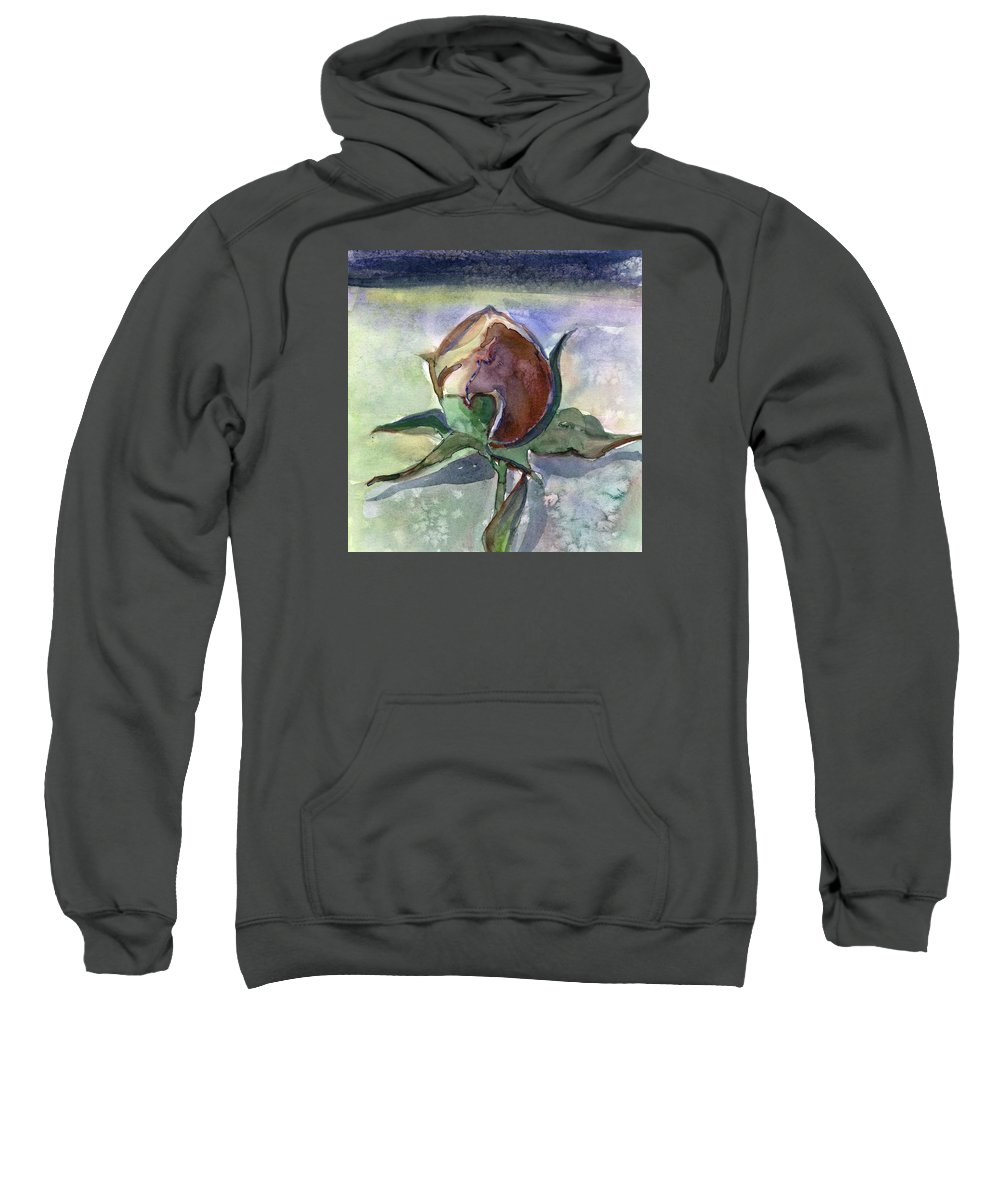 Rose Sweatshirt featuring the painting Rose in the Snow by Mindy Newman