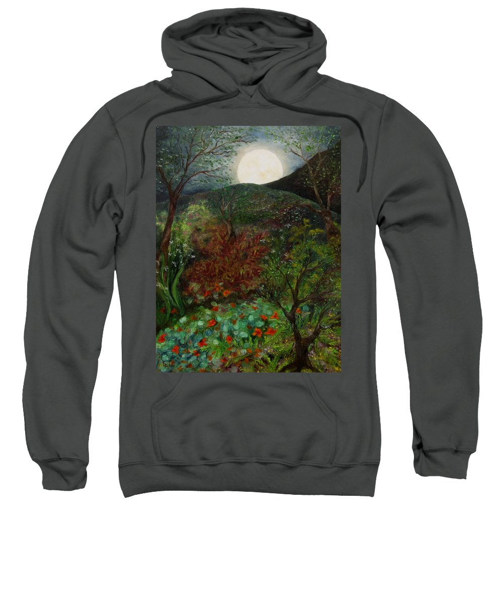 Forest Sweatshirt featuring the painting Rose Moon by FT McKinstry
