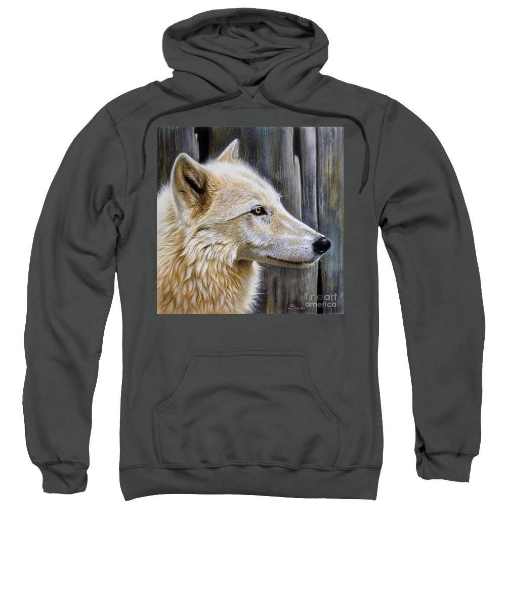 Wolves Sweatshirt featuring the painting Rose by Sandi Baker
