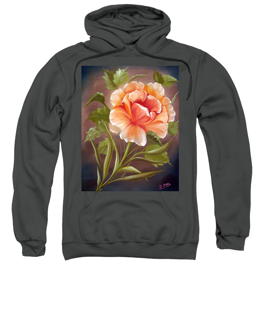 Rose Sweatshirt featuring the painting Rose Tropicana by David G Paul