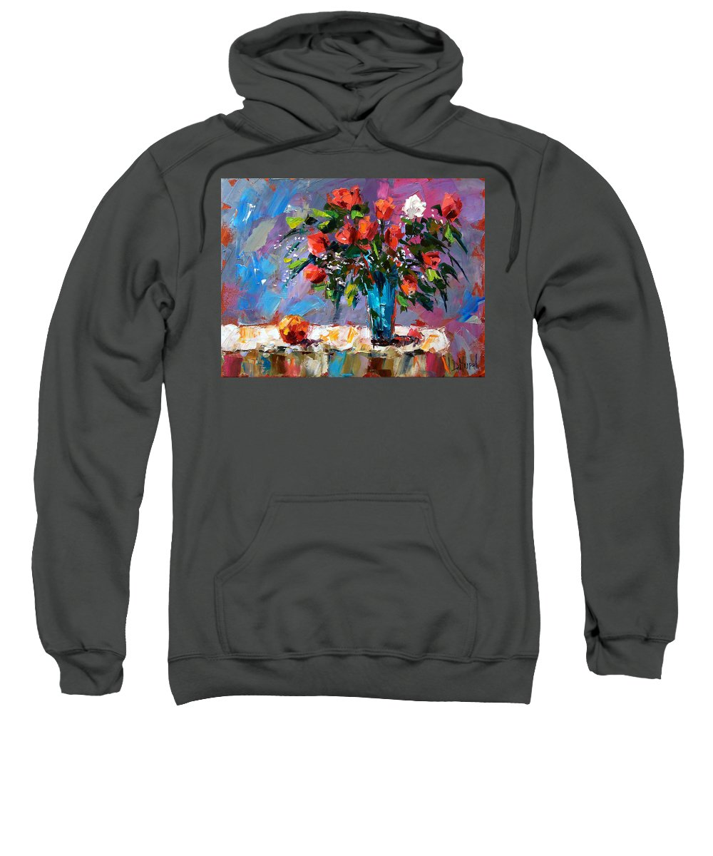 Flowers Sweatshirt featuring the painting Roses And A Peach by Debra Hurd