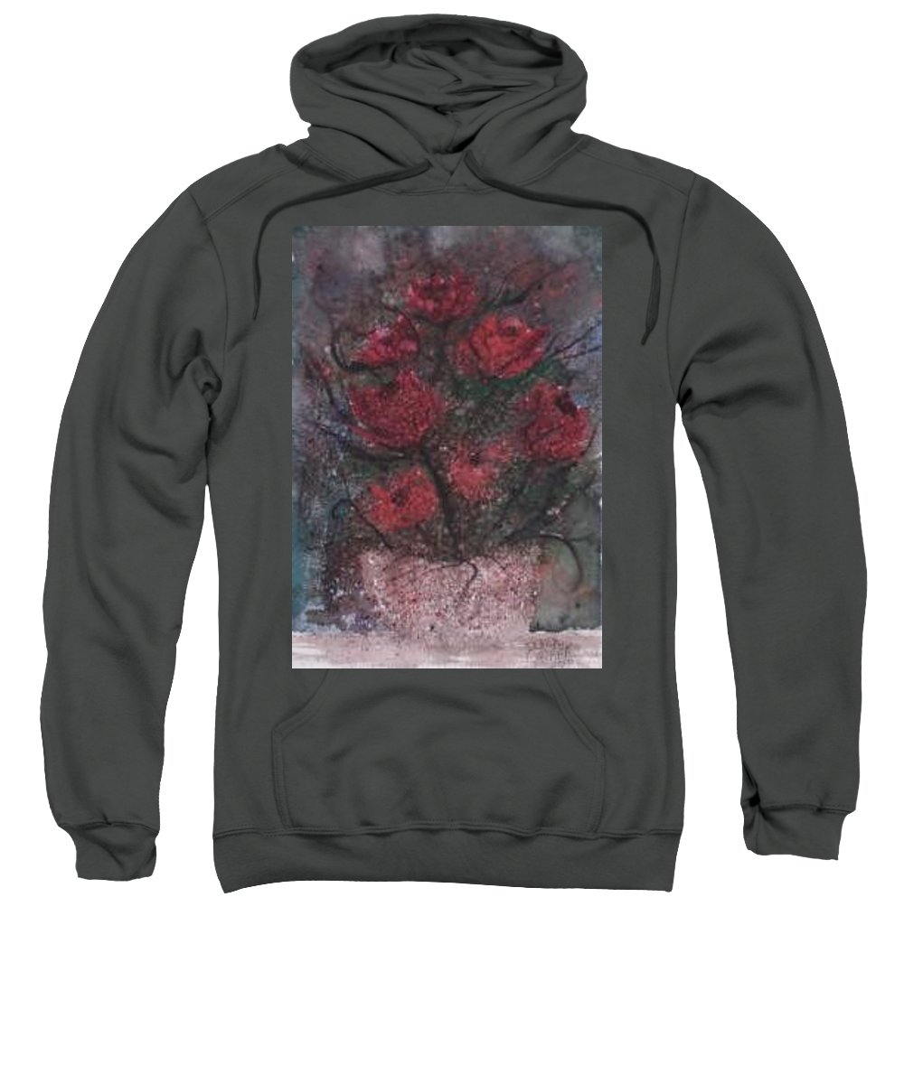 Watercolor Sweatshirt featuring the painting Roses At Night Gothic Surreal Modern Painting Poster Print by Derek Mccrea