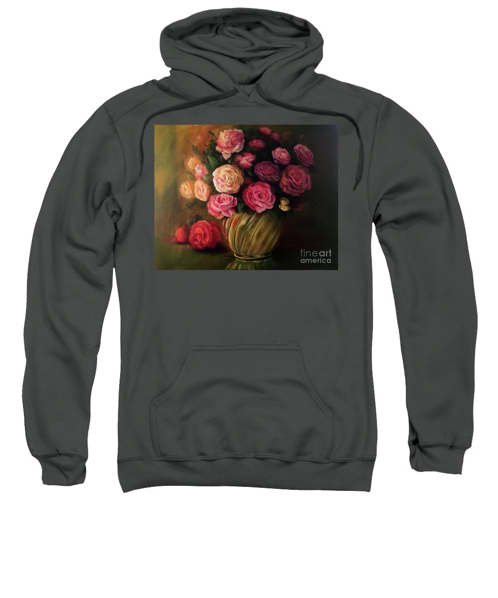 Still Life Sweatshirt featuring the painting Roses In Brass Bowl by Marlene Book