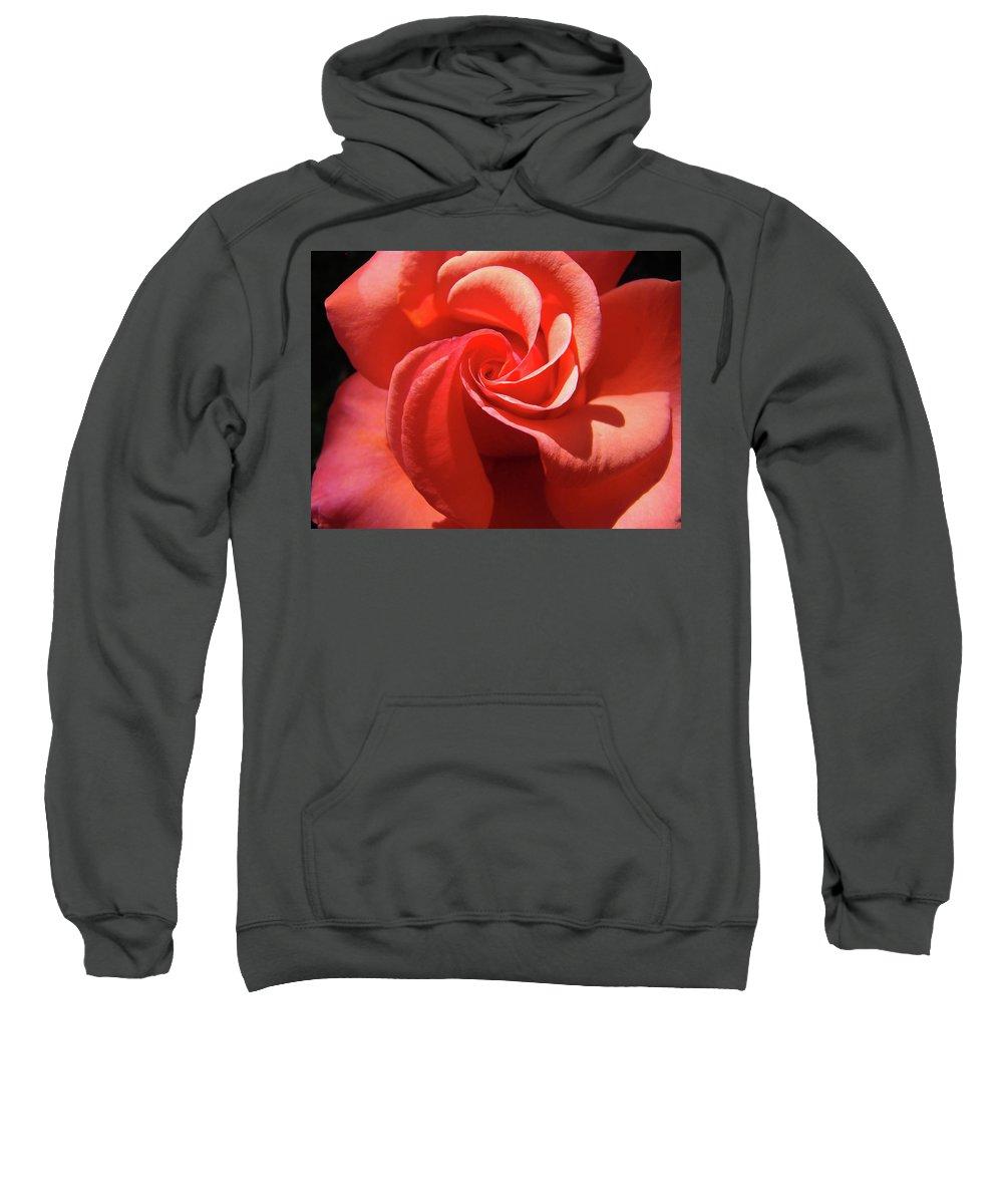 Rose Sweatshirt featuring the photograph Roses Orange Rose Flower Spiral Artwork 4 Rose Garden Baslee Troutman by Baslee Troutman