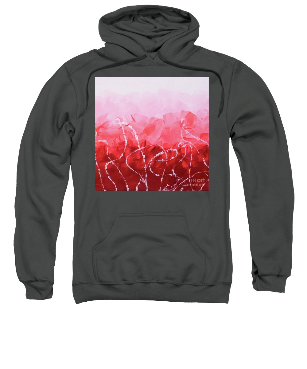 Red Minimal Sweatshirt featuring the painting Rosie Ropes by Jilian Cramb - AMothersFineArt