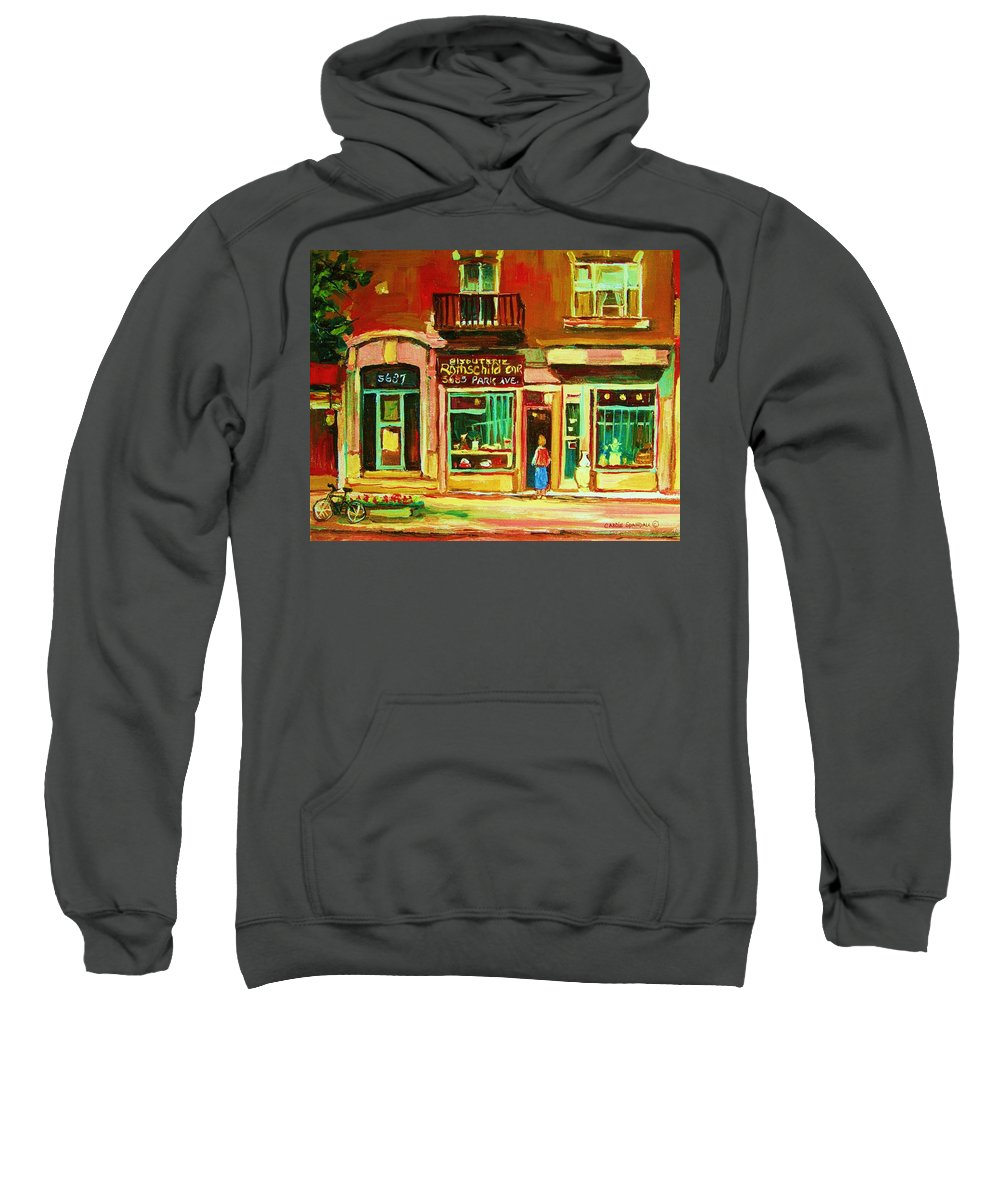 Montreal Sweatshirt featuring the painting Rothchilds Jewellers On Park Avenue by Carole Spandau