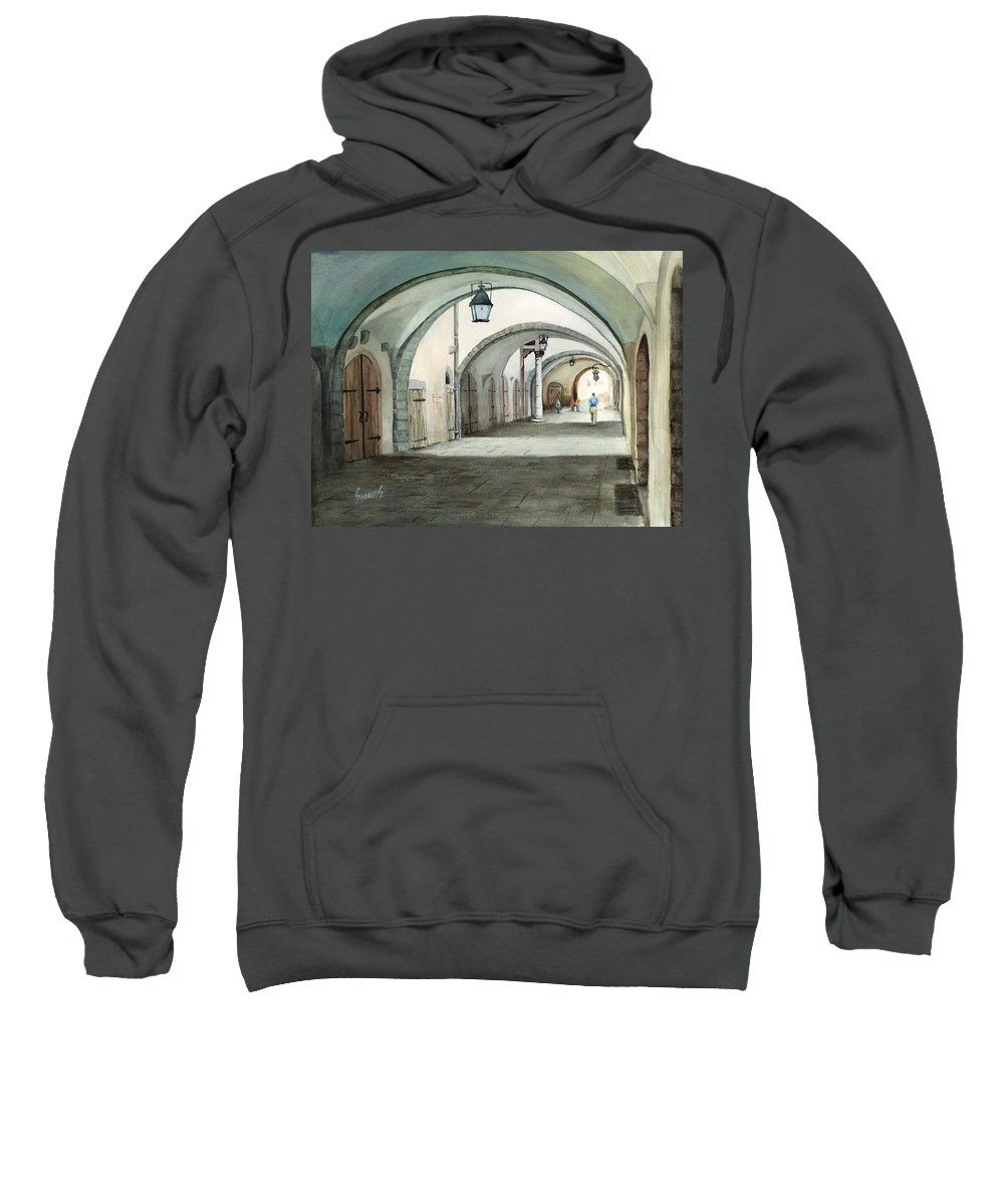 Germany Sweatshirt featuring the painting Rothenburg Backstreet by Sam Sidders