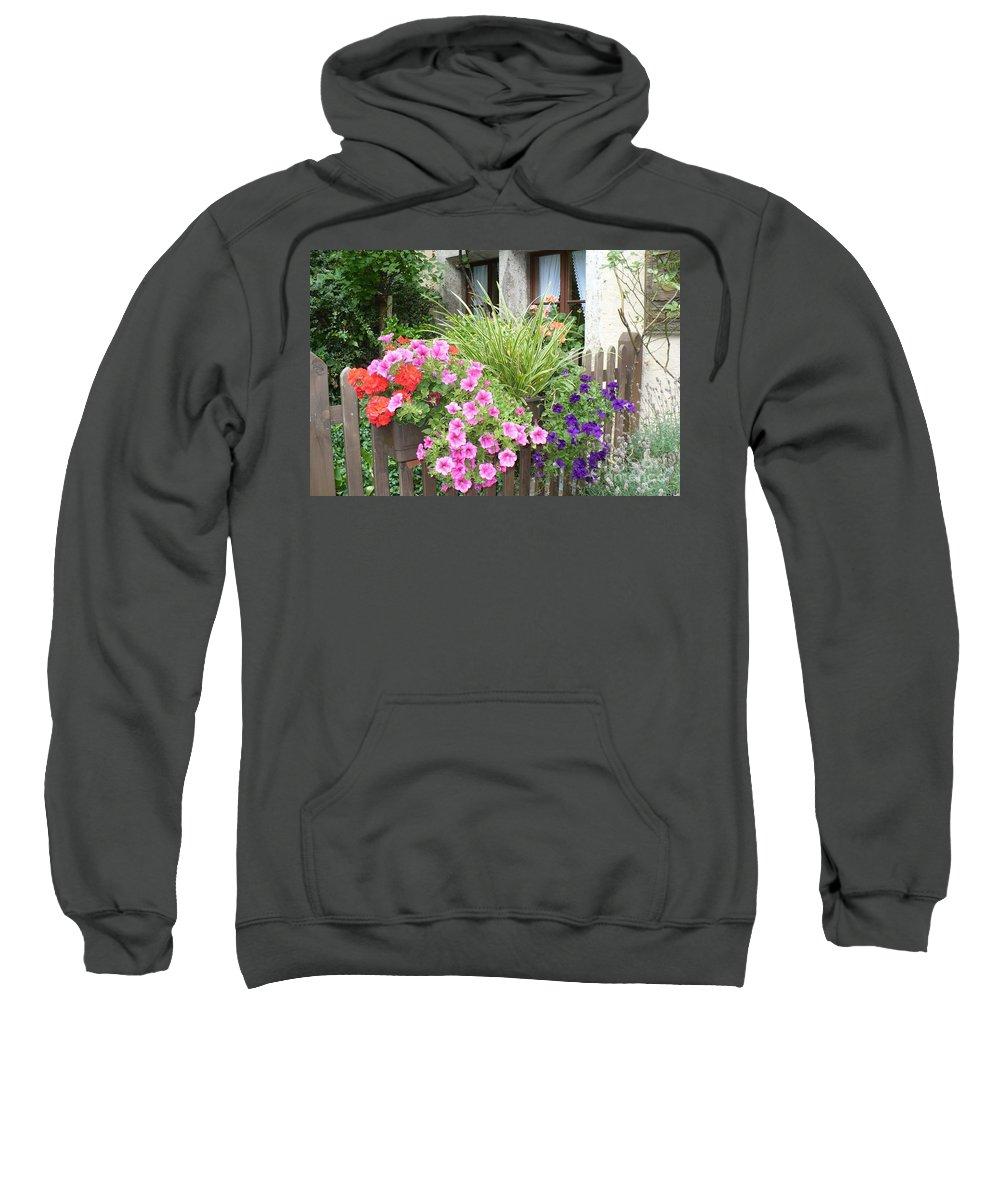 Garden Sweatshirt featuring the photograph Rothenburg Flower Box by Carol Groenen