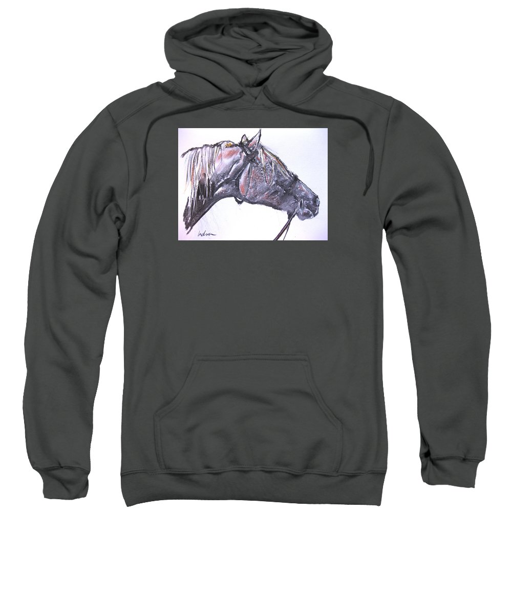 Horse Sweatshirt featuring the drawing Rough Ride by Indra Singh