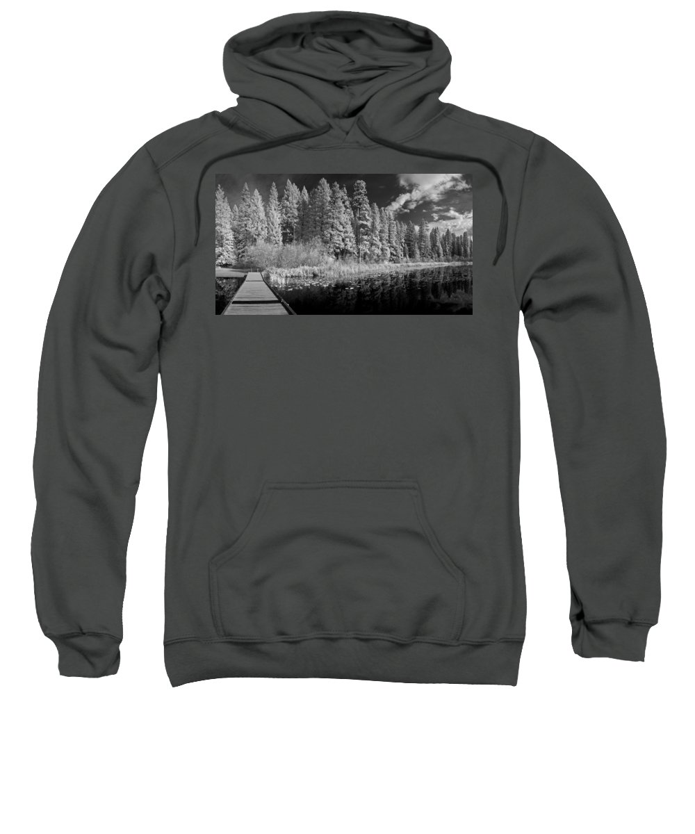 B&w Sweatshirt featuring the photograph Round Lake State Park 4 by Lee Santa