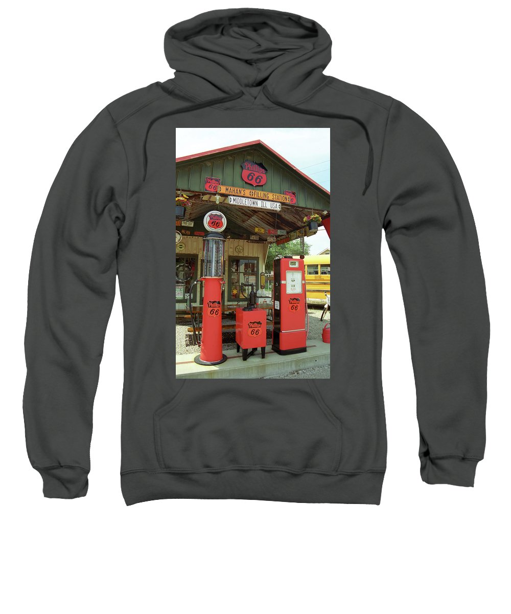 66 Sweatshirt featuring the photograph Route 66 - Shea's Gas Station by Frank Romeo