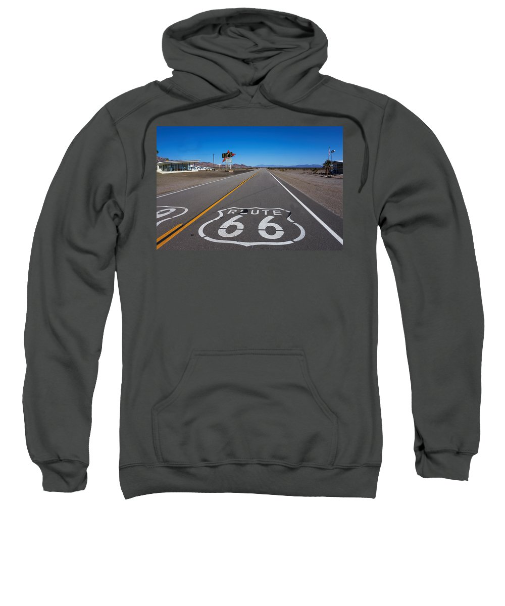 Route 66 Sweatshirt featuring the photograph Roy's Cafe by Steve Ondrus
