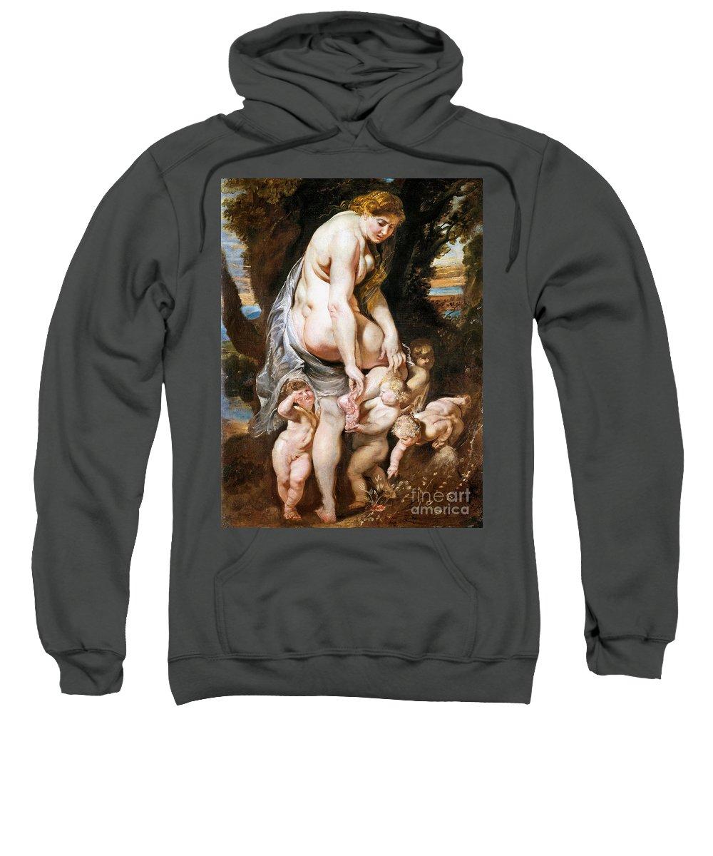 1606 Sweatshirt featuring the painting Rubens: Venus, C1606-09 by Granger