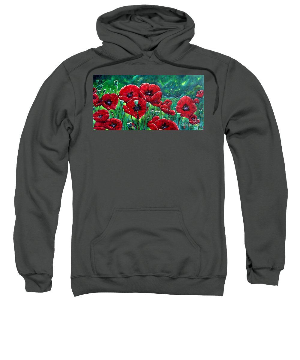 Forest Sweatshirt featuring the painting Rubies In The Emerald Forest by Richard T Pranke