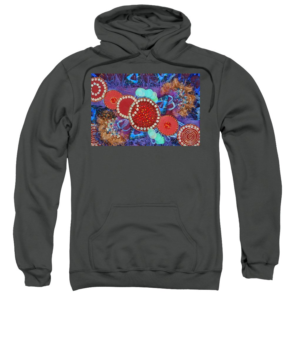 Sweatshirt featuring the mixed media Ruby Slippers 2 by Judy Henninger