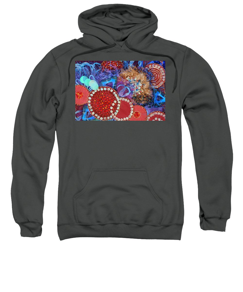 Sweatshirt featuring the mixed media Ruby Slippers 3 by Judy Henninger