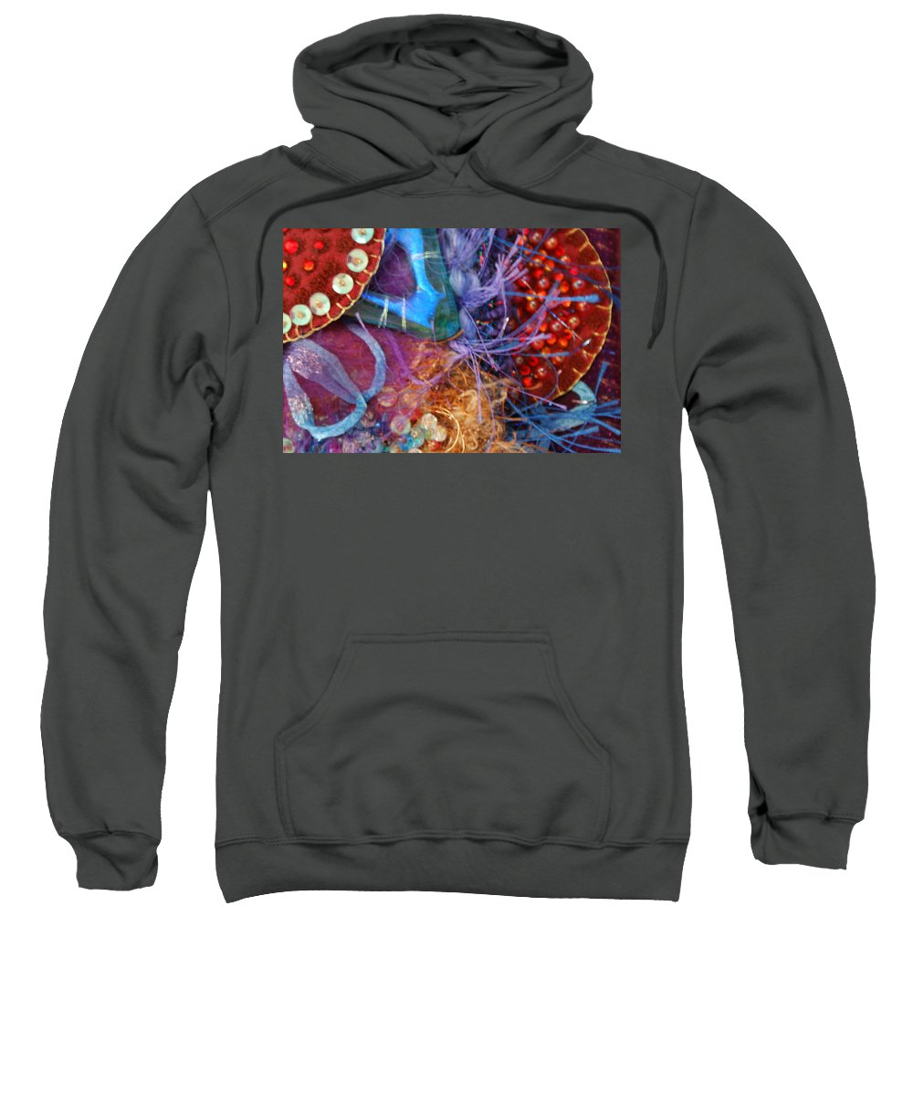 Sweatshirt featuring the mixed media Ruby Slippers 6 by Judy Henninger