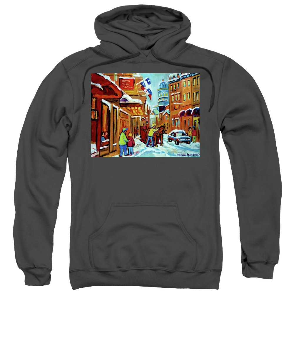 Montreal Sweatshirt featuring the painting Rue St Paul Montreal Streetscene Cafes And Caleche by Carole Spandau