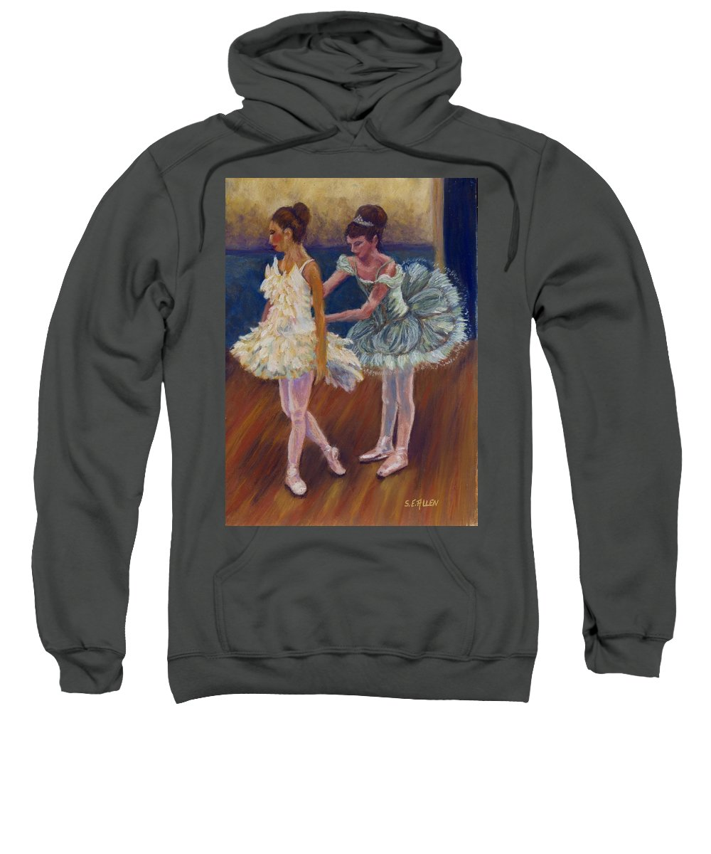 Ballerina Sweatshirt featuring the painting Ruffled Feathers by Sharon E Allen