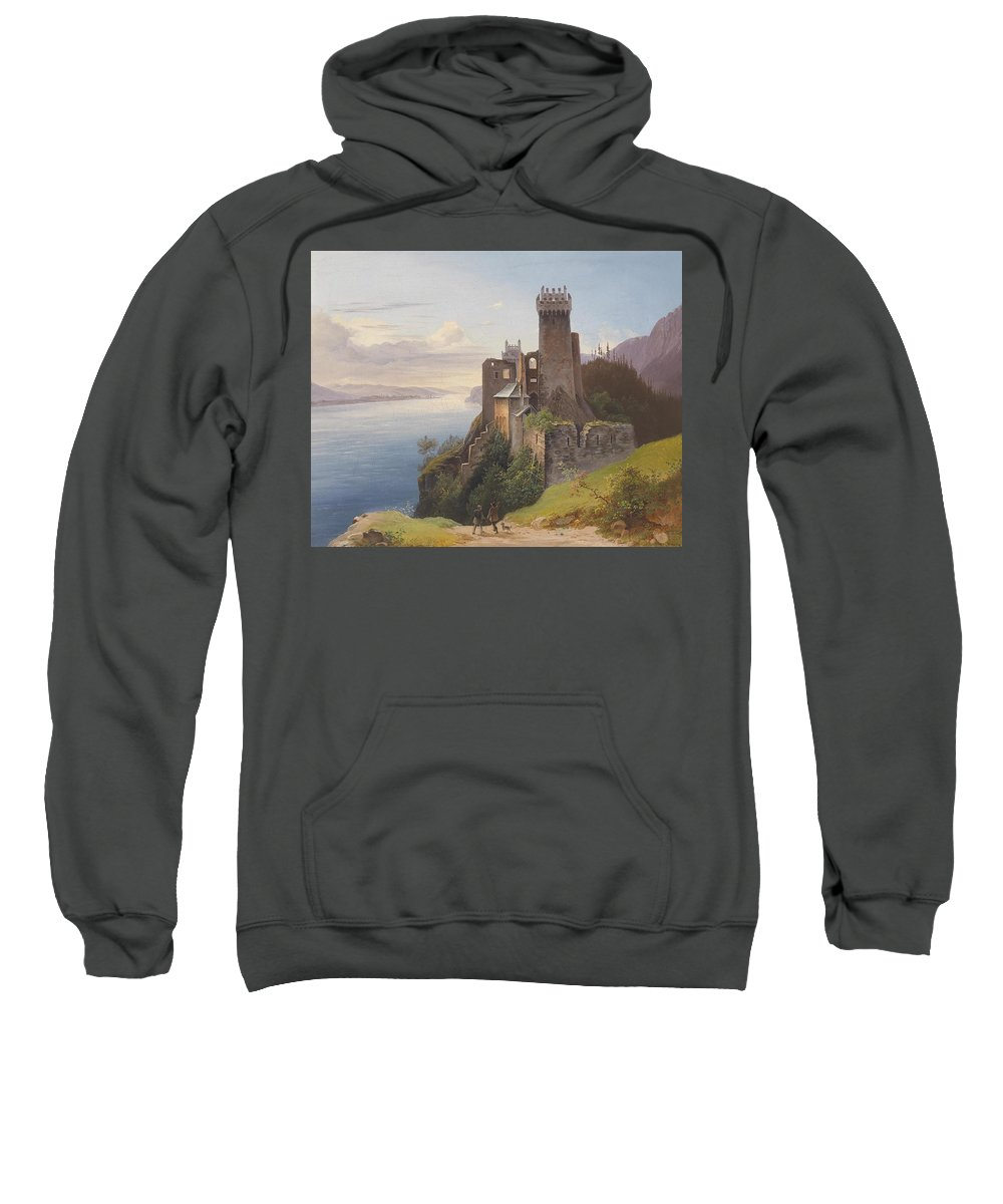 Josef Holzer Ruin Weitenegg Sweatshirt featuring the painting ruin Weitenegg by MotionAge Designs