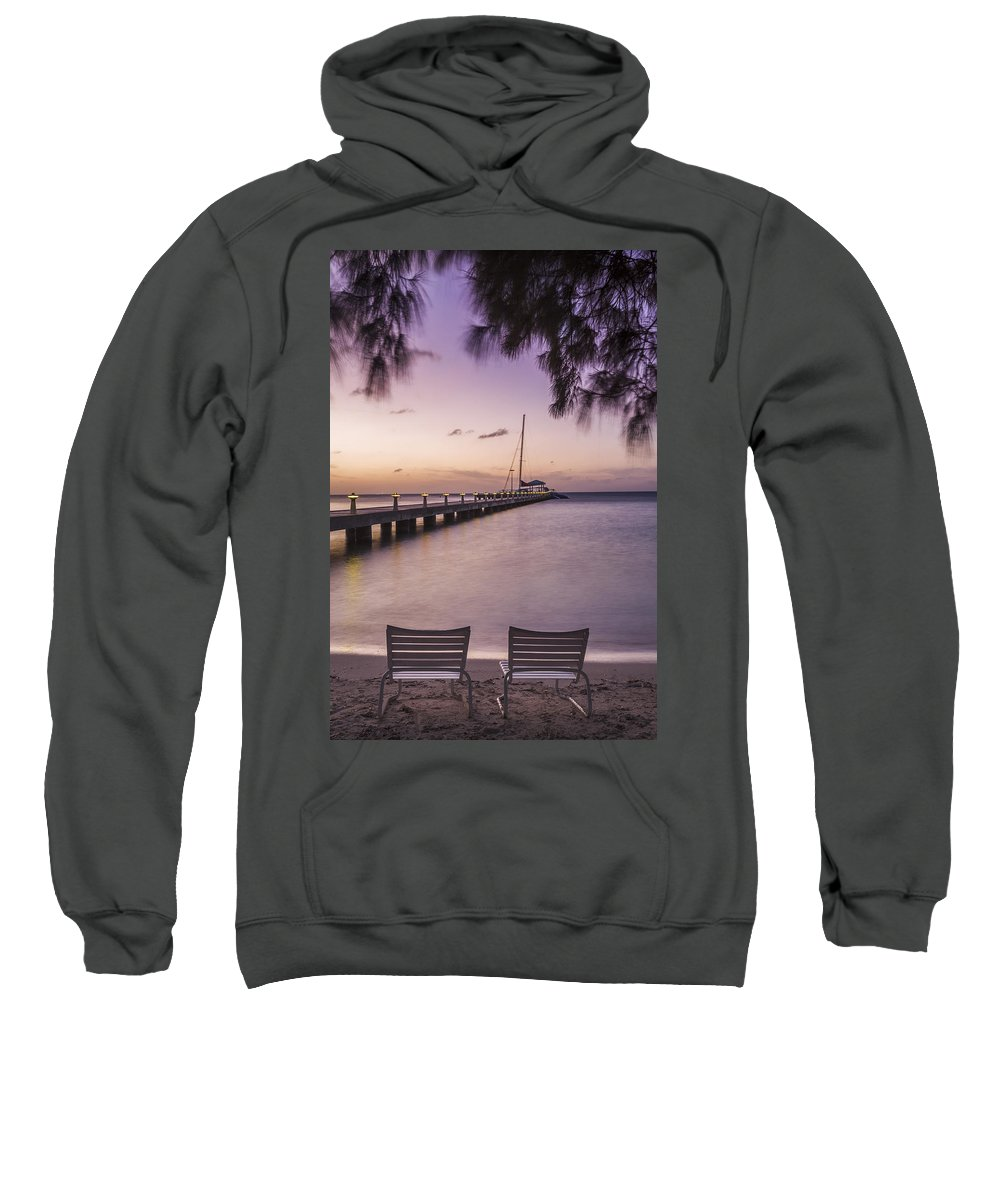 3scape Sweatshirt featuring the photograph Rum Point Beach Chairs At Dusk by Adam Romanowicz