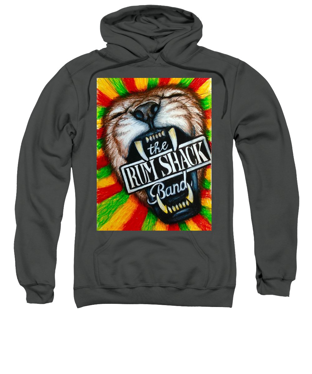 Rum Shack Sweatshirt featuring the painting Rum Shack Roaring Lion by Maria Hatefi