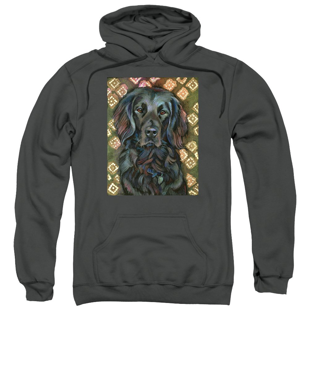 Black Lab Sweatshirt featuring the painting Black Labrador by Jane Oriel