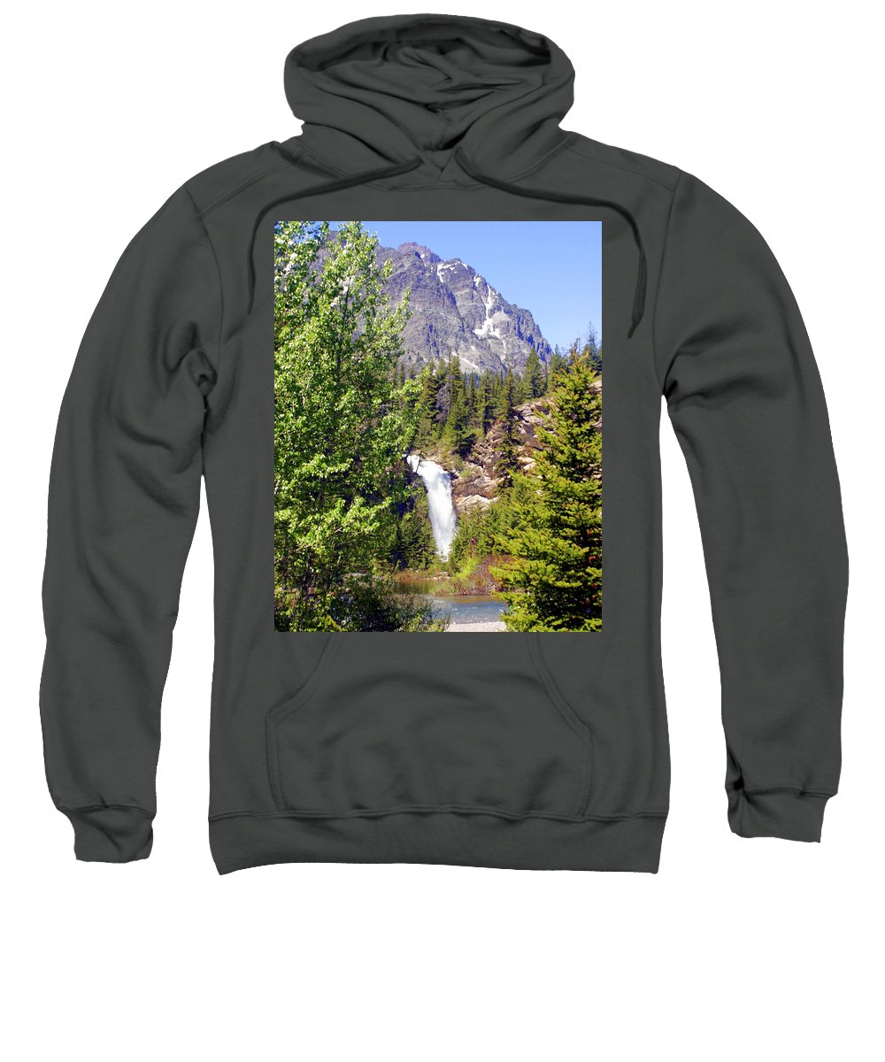 Waterfalls Sweatshirt featuring the photograph Running Eagle Falls Glacier National Park by Marty Koch