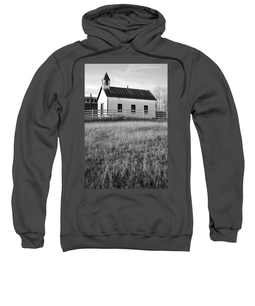 Black And White Sweatshirt featuring the photograph Rural Church Black And White by Jill Reger
