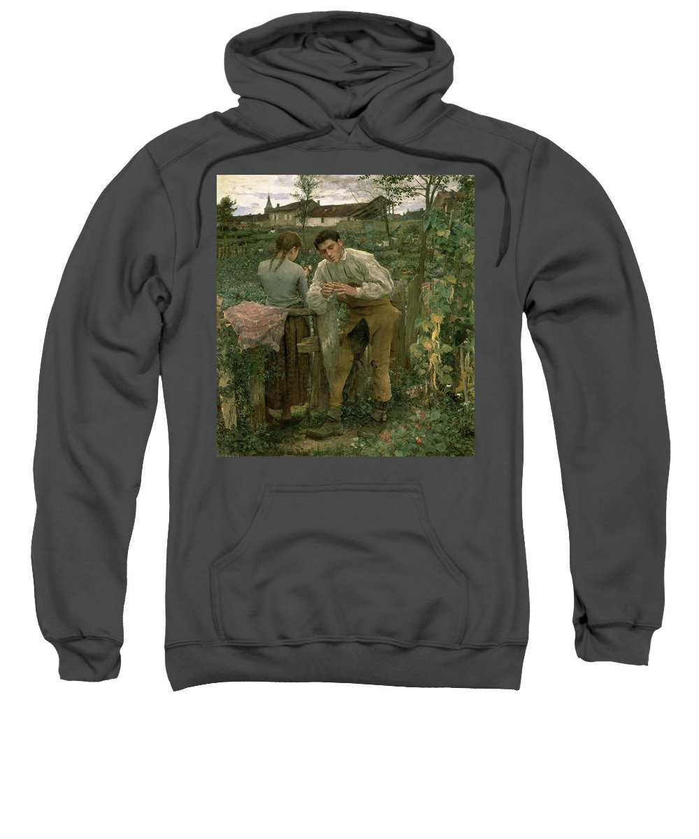 Valentine's Day Sweatshirt featuring the painting Rural Love by Jules Bastien Lepage