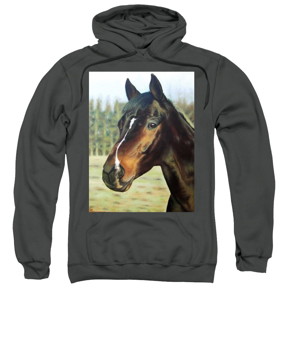 Horse Sweatshirt featuring the painting Russian Horse by Nicole Zeug