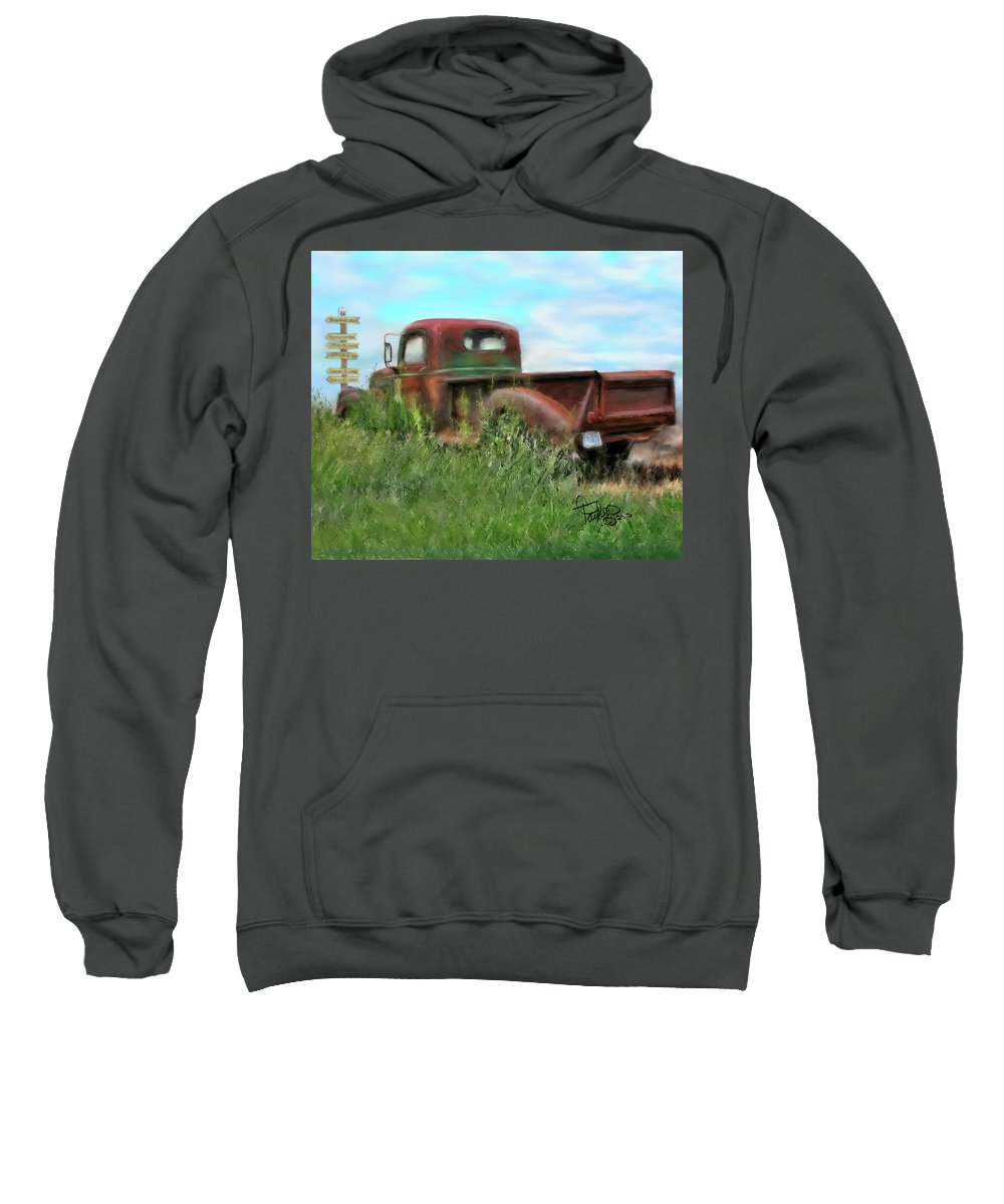 Rusted Out Trucks Sweatshirt featuring the painting Rusted Not Retired by Colleen Taylor