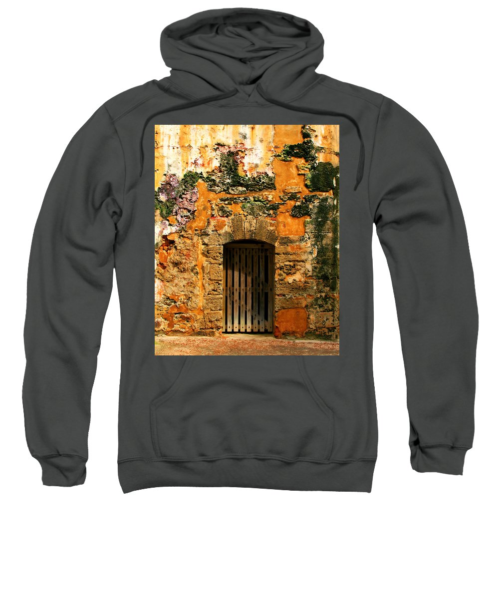 Fort Sweatshirt featuring the photograph Rustic Fort Door by Perry Webster