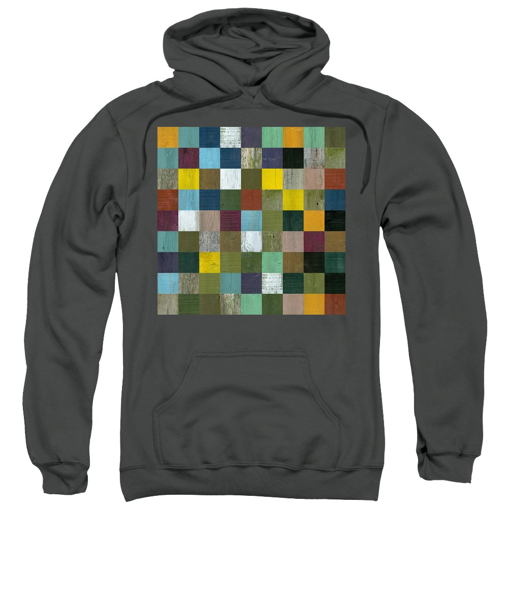 Textured Sweatshirt featuring the digital art Rustic Wooden Abstract by Michelle Calkins