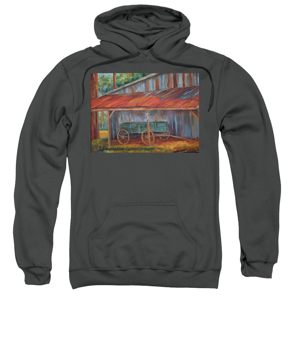 Old Wagons Sweatshirt featuring the painting Rustification by Ginger Concepcion