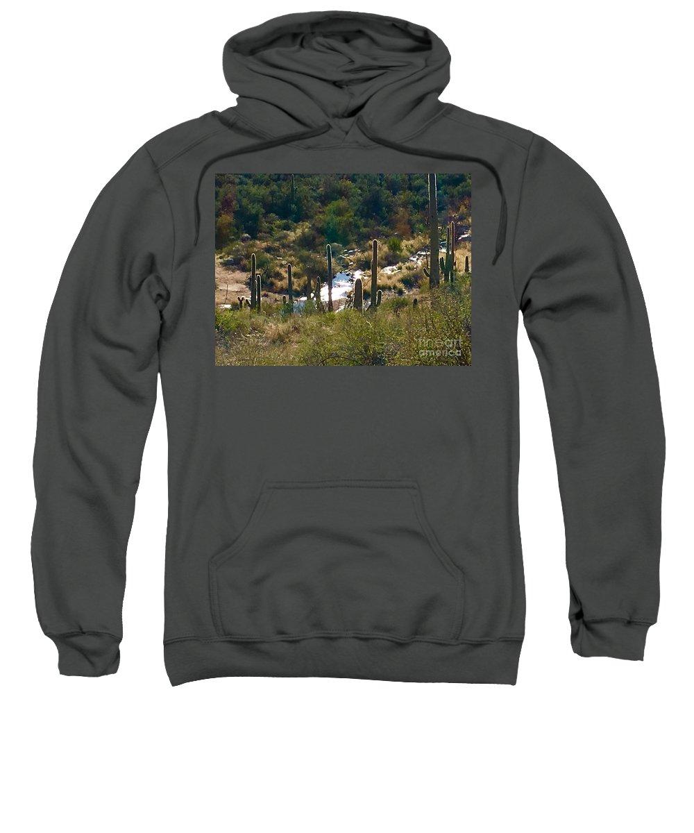 Marie Sweatshirt featuring the photograph Saguaro Creek by Marie Webb