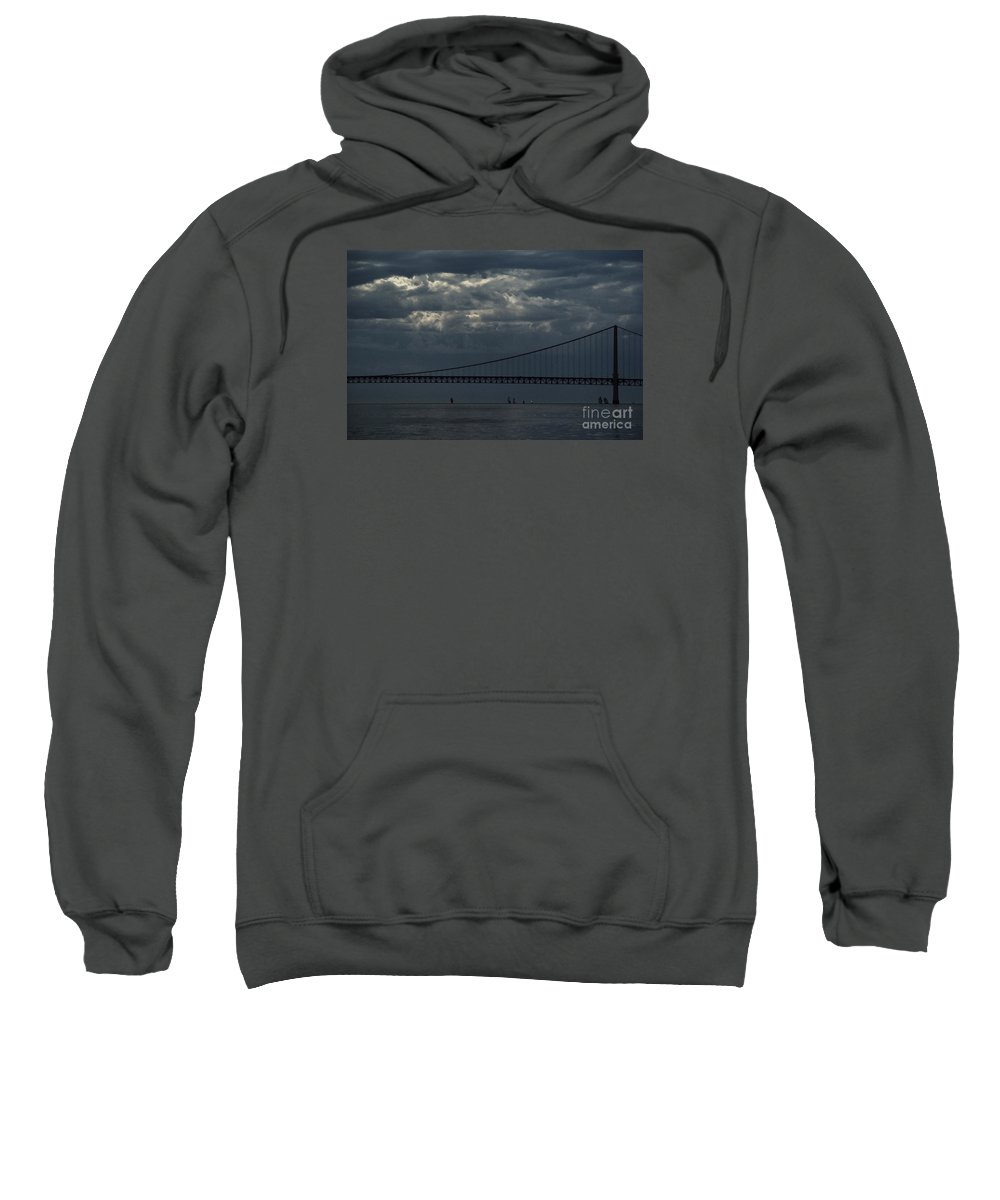 Mighty Mac Sweatshirt featuring the photograph Sail Beneath The Mighty Mac by Linda Shafer