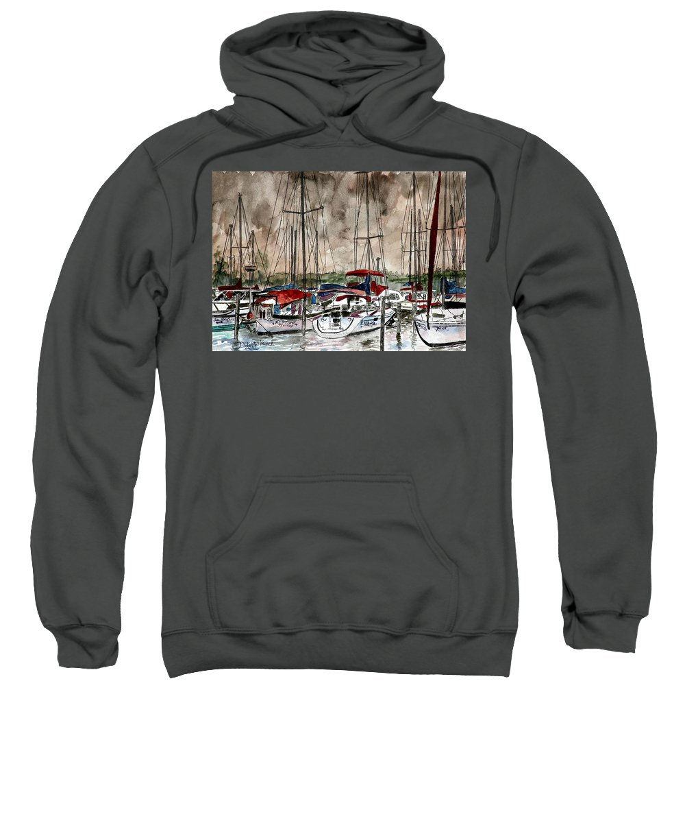 Watercolor Sweatshirt featuring the painting Sailboats At Night by Derek Mccrea