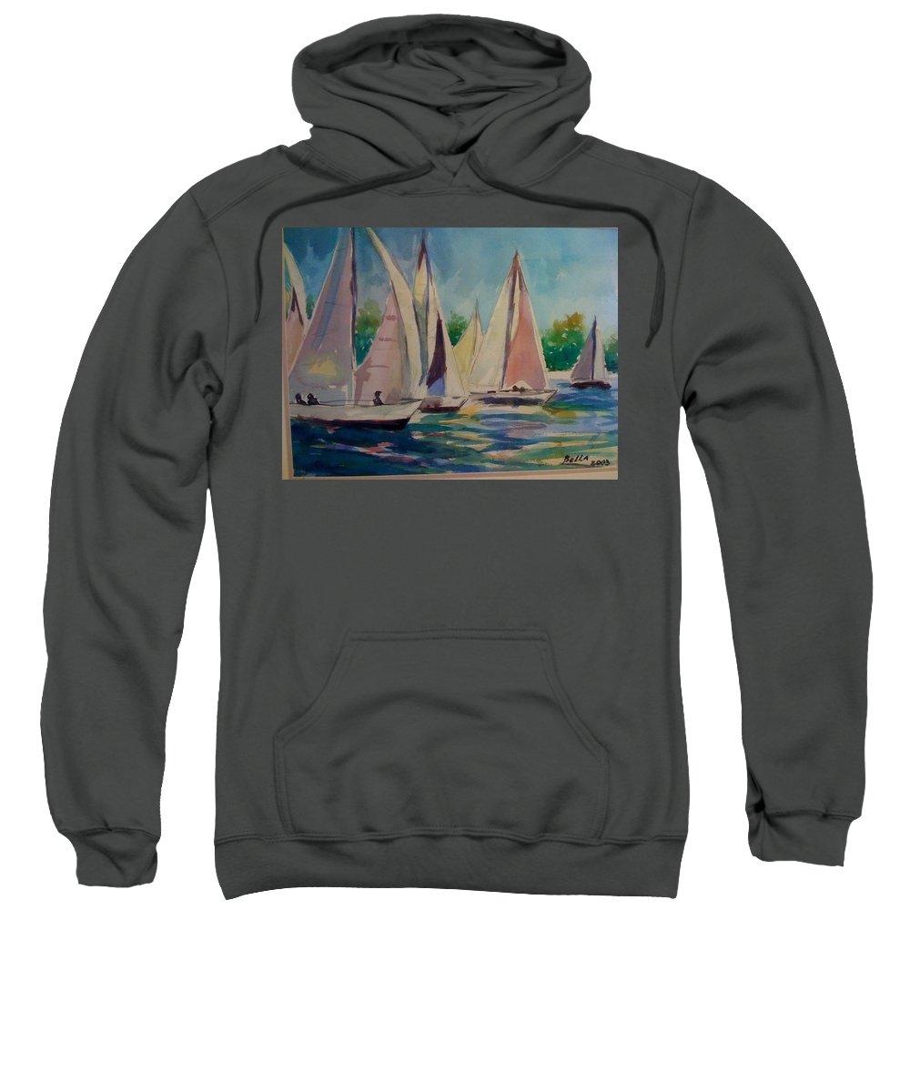 Sailboats Sweatshirt featuring the painting Sailboats by Bella Altman