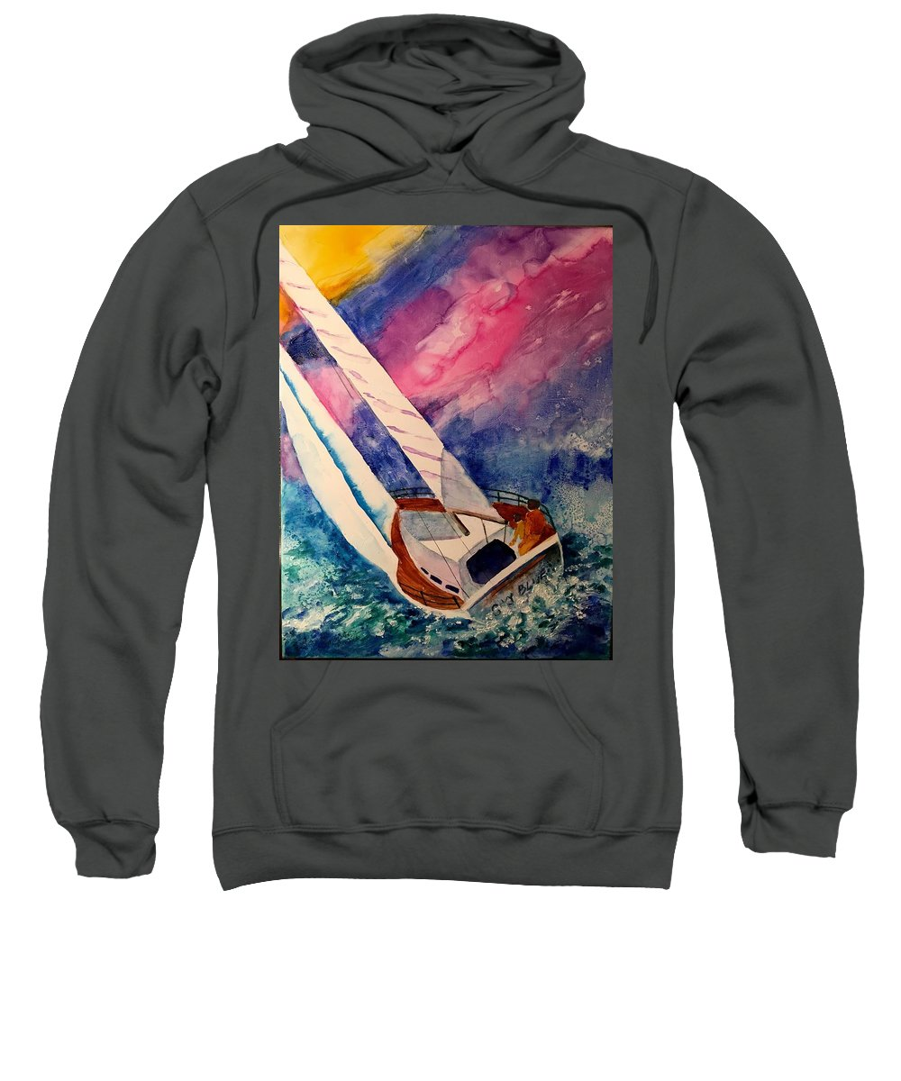Sail Boat Sweatshirt featuring the painting Sailing by Bonnie Ambrose
