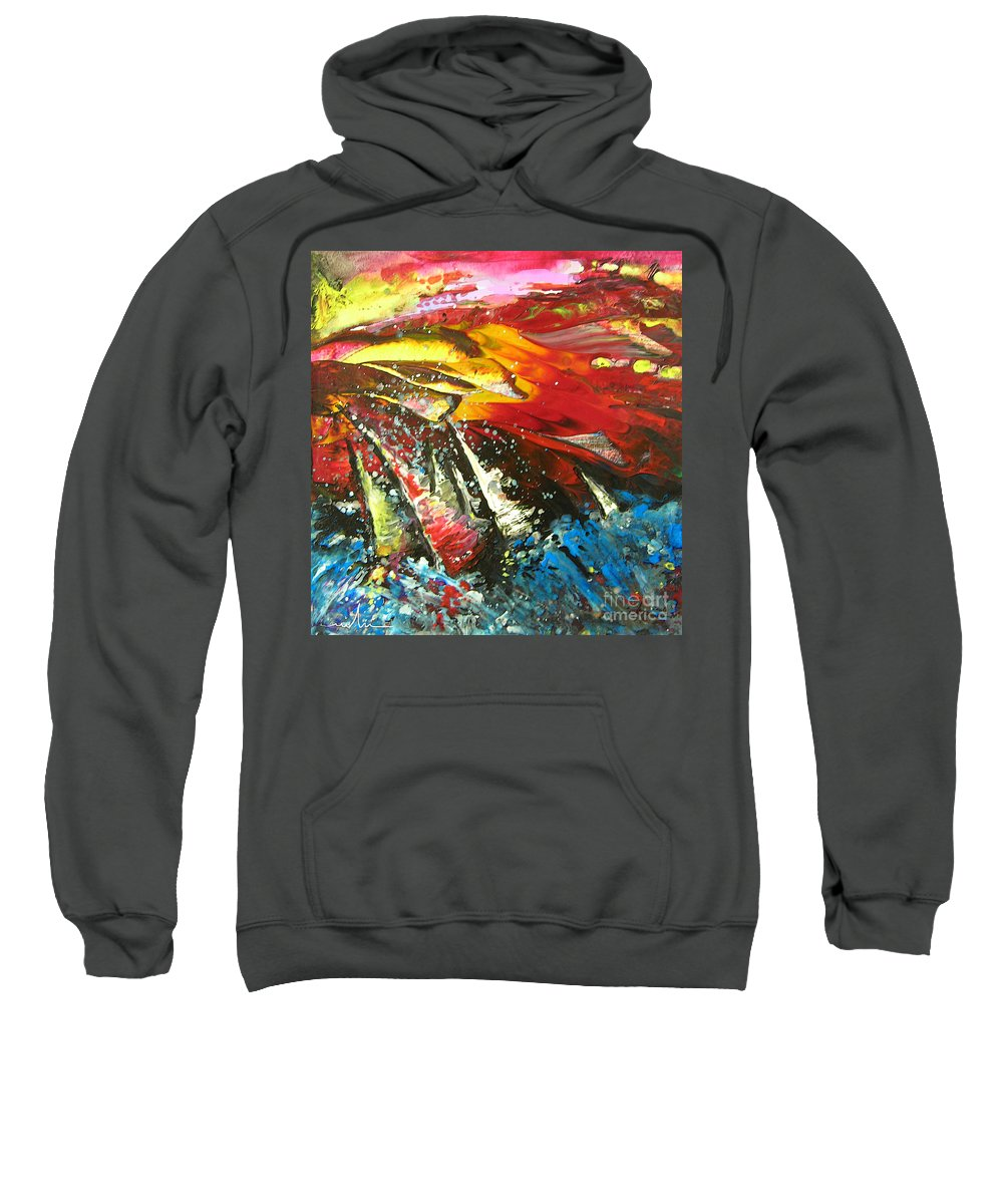 Sailing Sweatshirt featuring the painting Sailing Impression 02 by Miki De Goodaboom