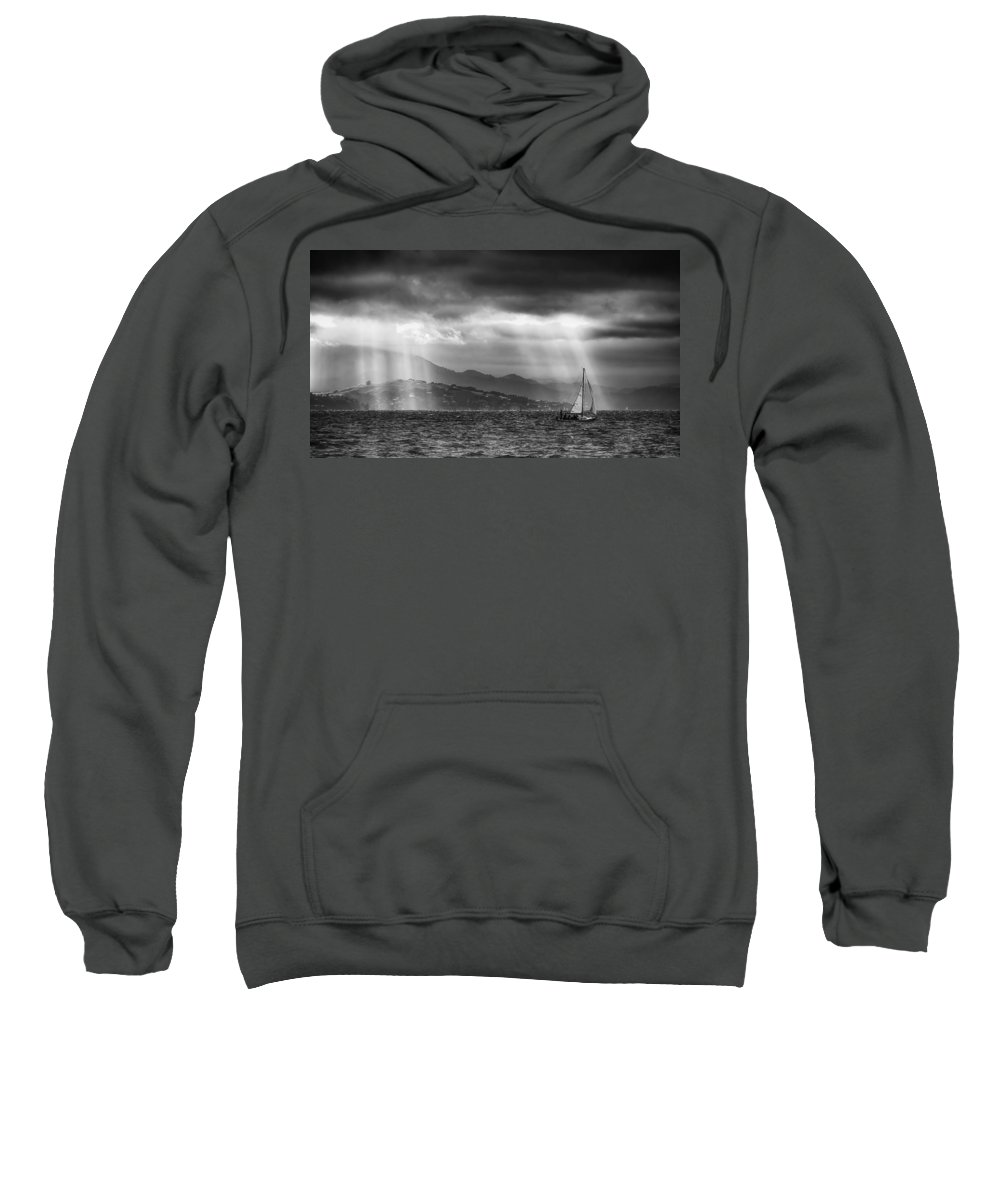 Bay Area Sweatshirt featuring the photograph Sailing In Black And White by Laura Macky