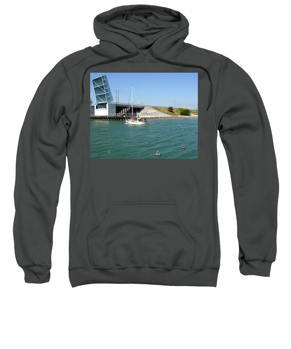 Port; Canaveral; Locks; Sail; Boat; Pelicans; Sailboat Drawbridge; Sailboat; Indian River; Indian; I Sweatshirt featuring the photograph Sailing In Port Canaveral Florida by Allan Hughes