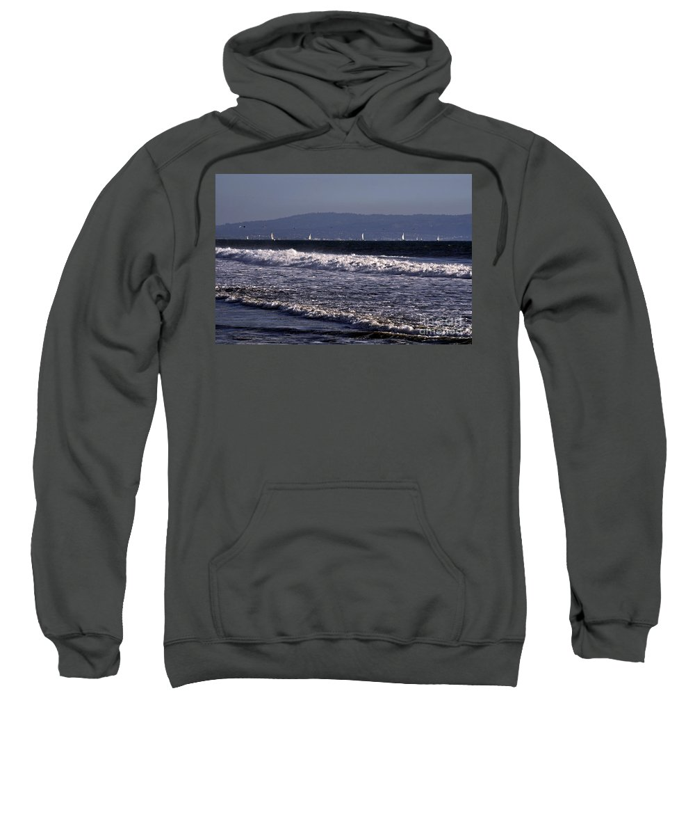 Clay Sweatshirt featuring the photograph Sailing In Santa Monica by Clayton Bruster