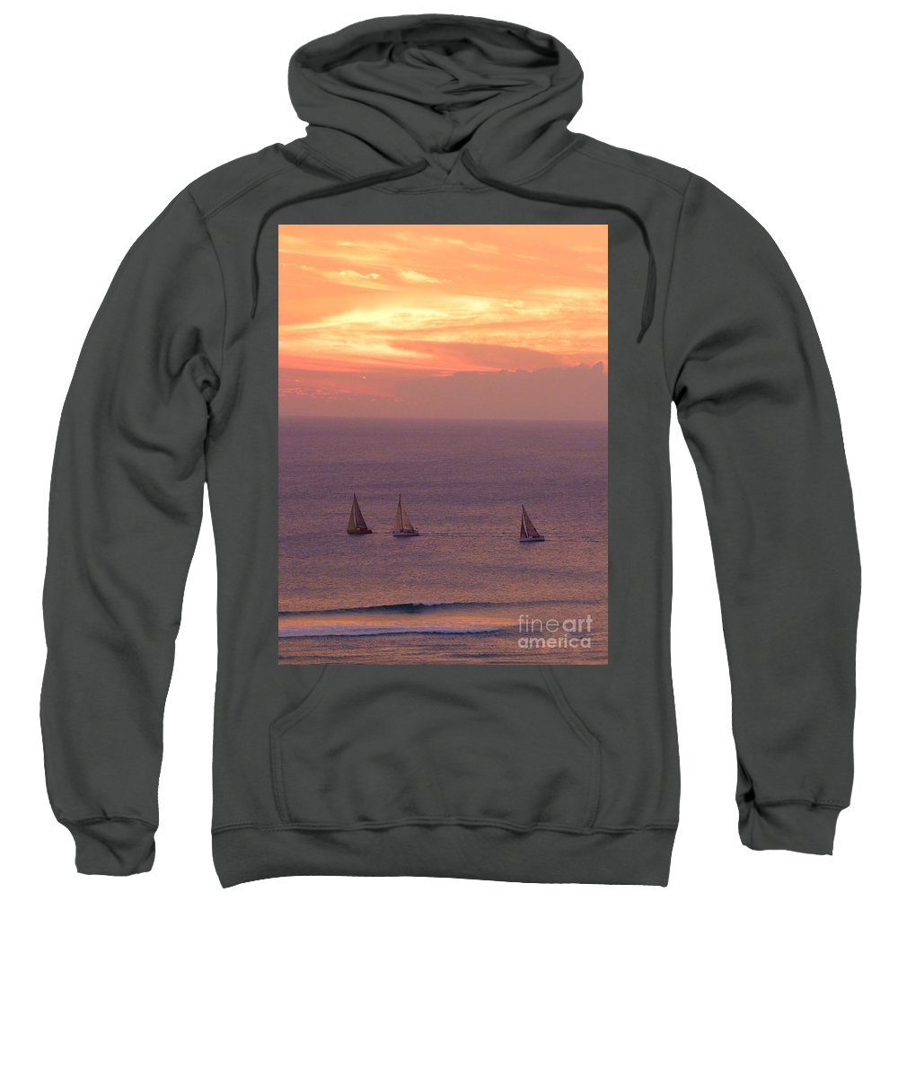 Sailing Sweatshirt featuring the photograph Sailing In The Golden Glow by Mary Deal